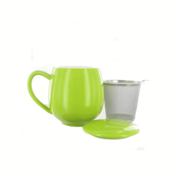 Tisanière verte avec filtre inox integré et 0.35l en volume.