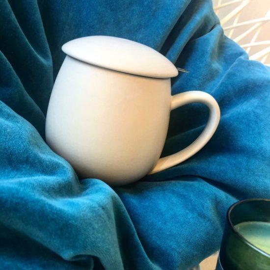 Tisanière en porcelaine de 300ml avec infuser en acier inoxydable et couvercle