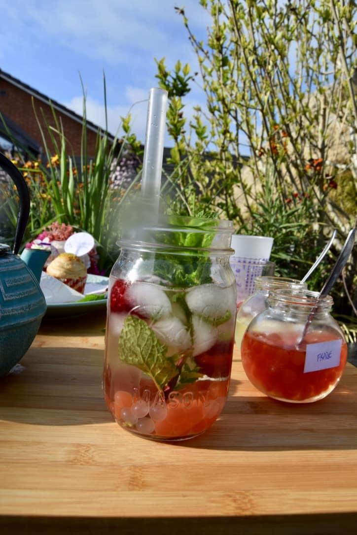 Bubble Tea au thé d'Elise, perles fraise et perles lychee